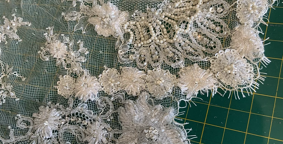 Ivory Hand Beaded Lace Piece #4011