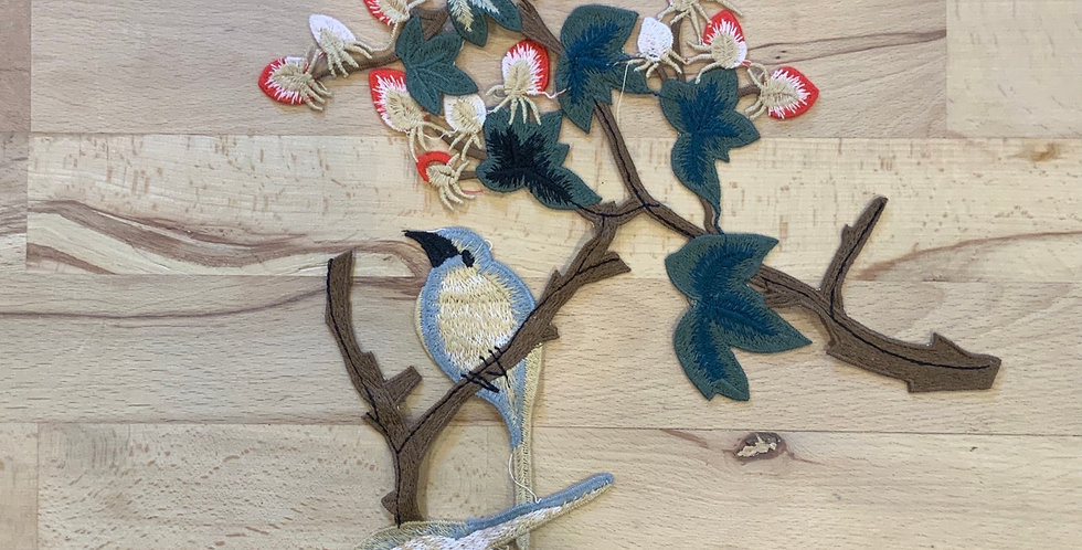 Birds On a Branch Embroidered Sew On Motif…