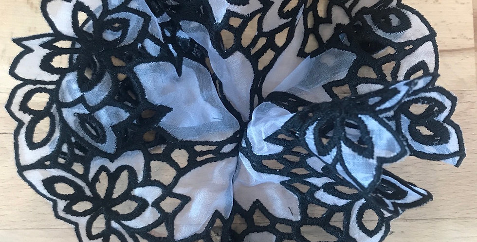Embroidered 3d organza fan corsage motif steele