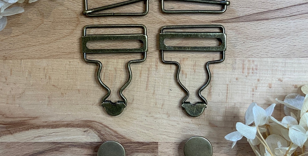 Set Antique Bronze Bid & Brace Hardware