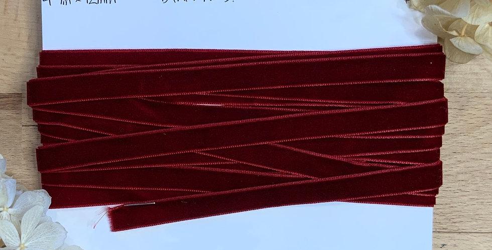 4.7mtrs Dark Red 12mm Velvet Ribbon