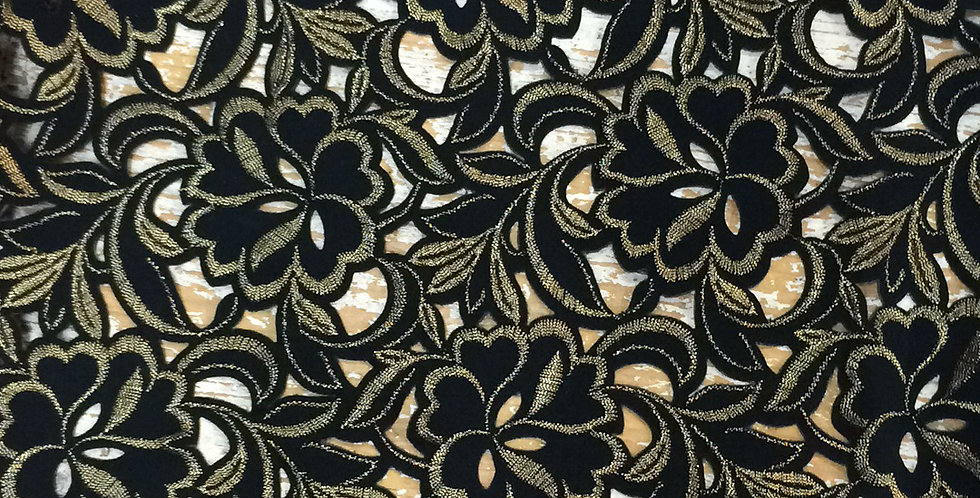 Black and Gold Embroidered Stretch Trim