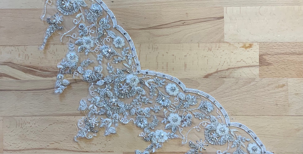 Ivory / Silver Hand Beaded Tulle Piece J10