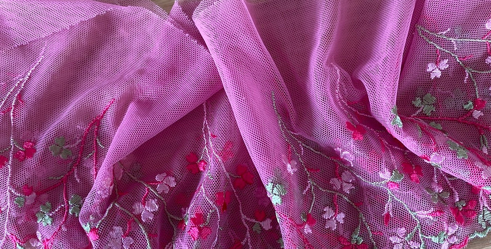 pink floral embroidered mesh remnant
