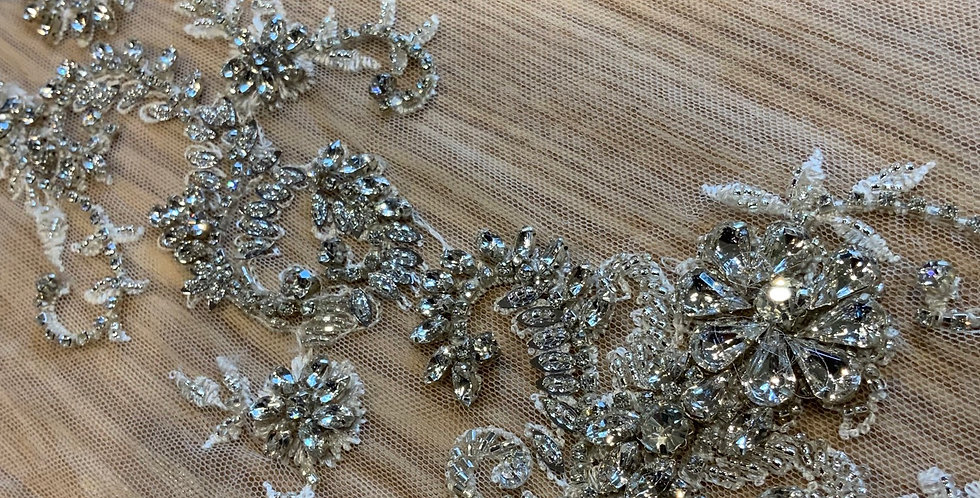 Corinne Hand Beaded Crystal Tulle Trim...