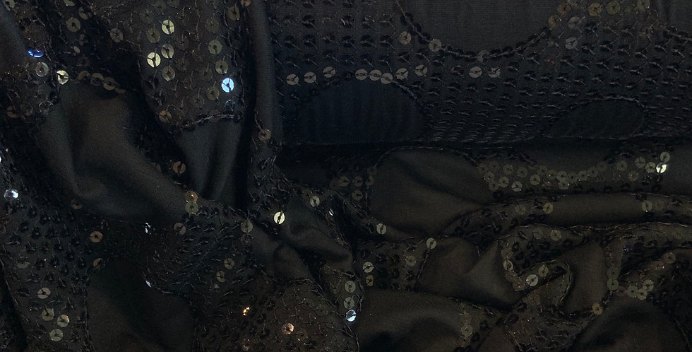 Black Sequin Circles Knit...