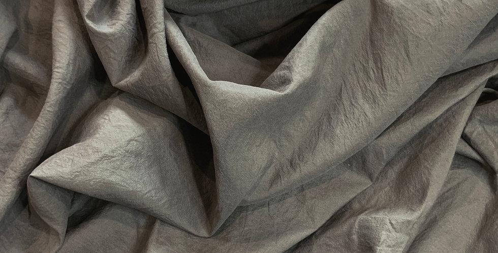 Taupe Vintage Washed Crinkled Silk Habotai...