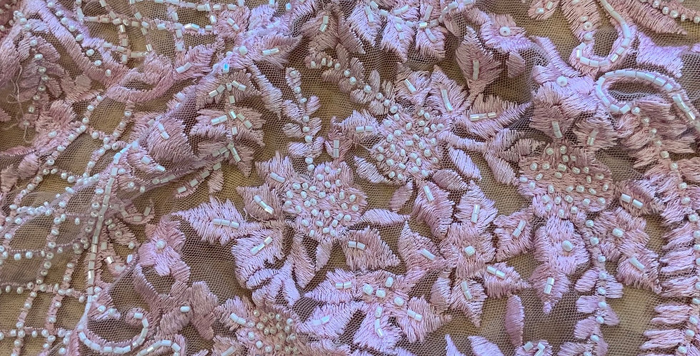 Pink Hand Dyed Beaded Lace Off Cut #9069