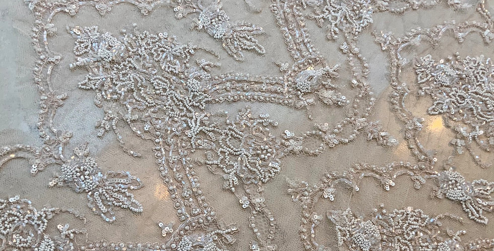 Champagne Hand Dyed Beaded Lace Off Cut #728