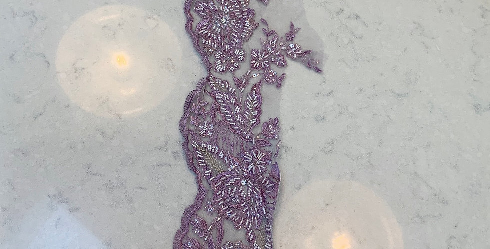 Lilac Hand Dyed Beaded Lace Off Cut #718...