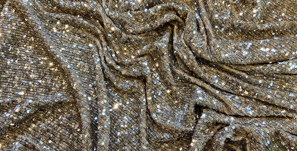 Silver Shimmer Sequin Stretch Mesh