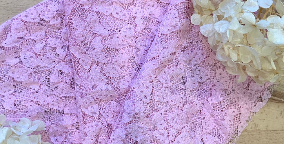 Strawberry Pink Hand Dyed French Butterfly Lace 50cm Piece...