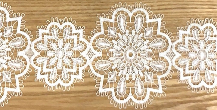 Snowflake White Lace Trim