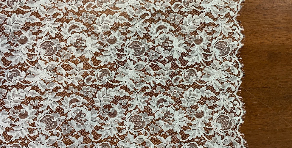 Chloe Ivory French Cotton Chantilly Solstiss Lace....