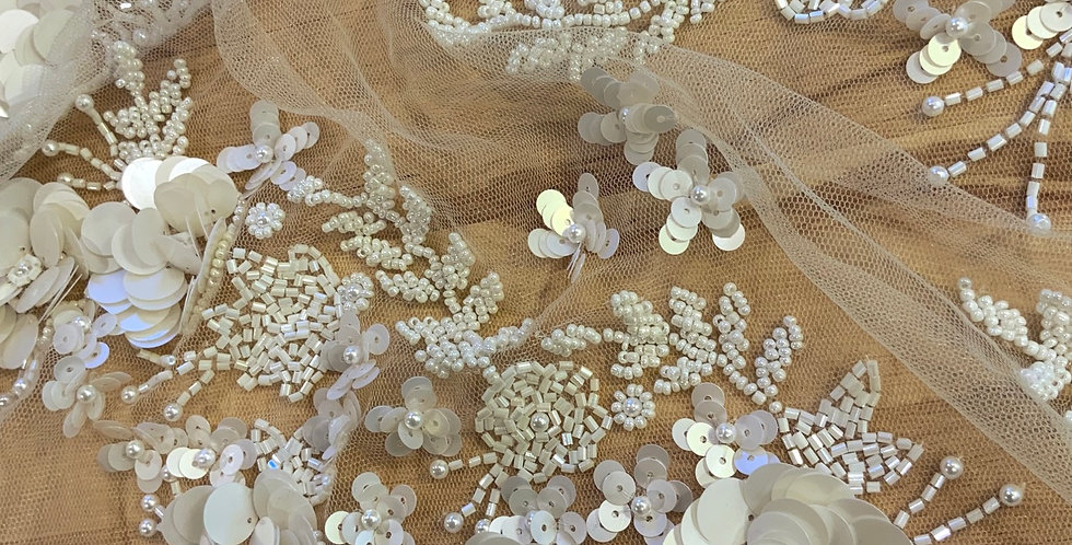 Ivory Hand Beaded Lace Off Cut #9012
