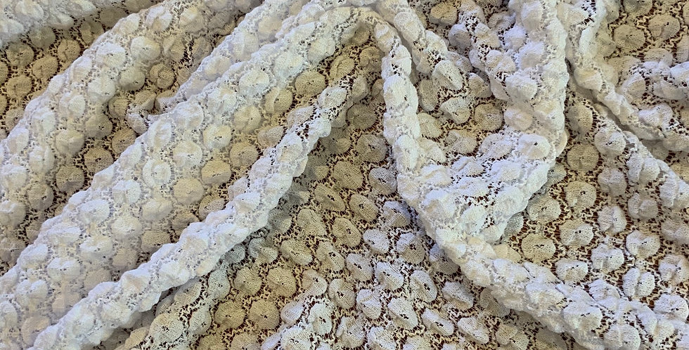 White Bubble Stretch Lace Remnant....
