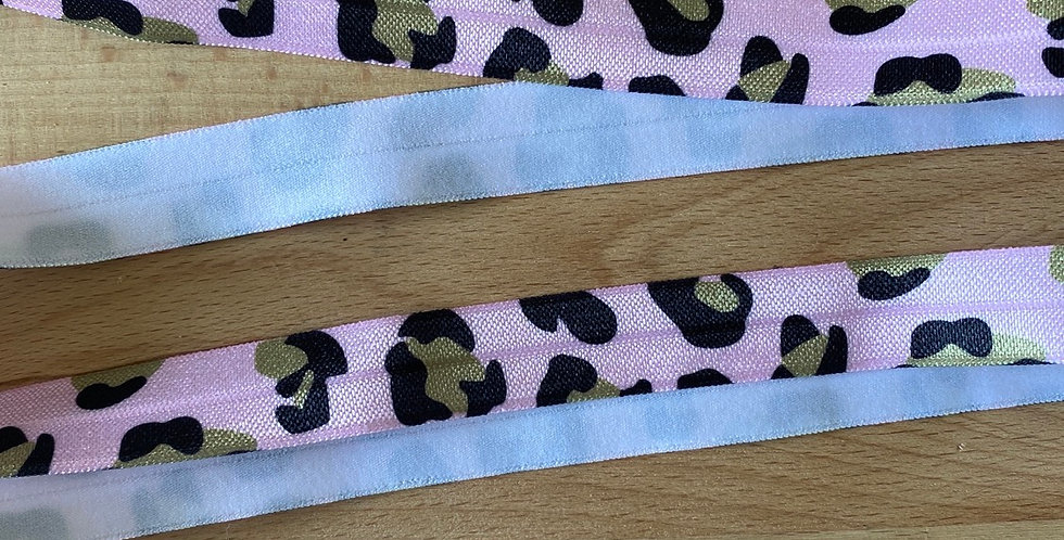 Pink leopard fold over elastic
