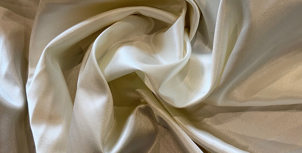 Cream Lightweight Stretch Satin Remnant