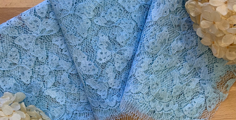 Aqua Hand Dyed French Butterfly Lace 50cm Piece...