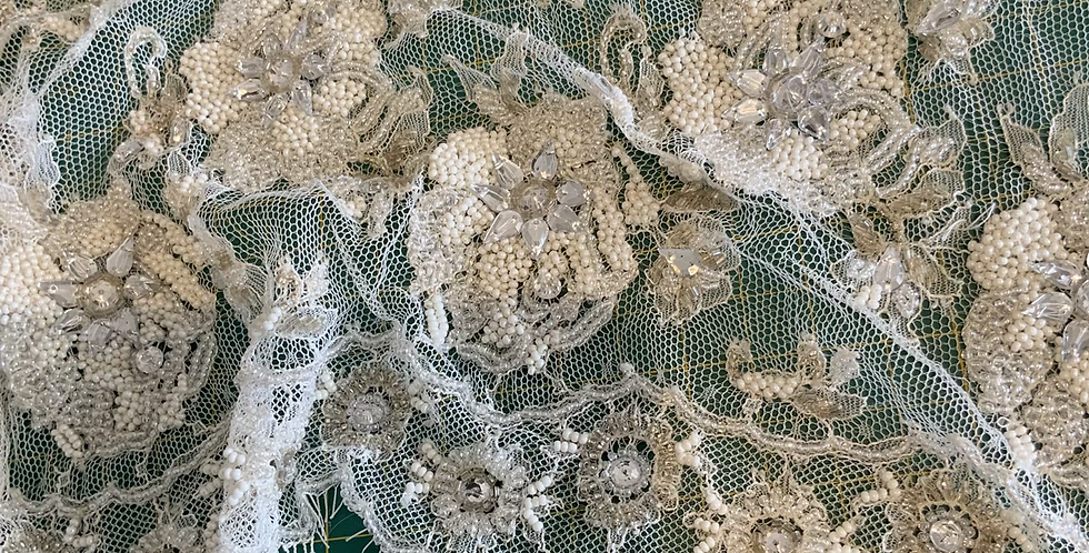 Ivory French Chantilly Hand Beaded Lace Piece #4012