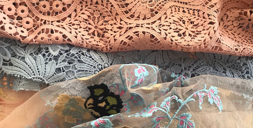 7 pink and blue brocade and lace sample pieces