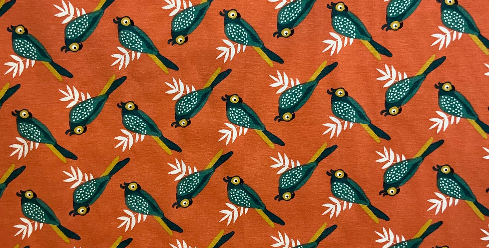 Teal Parrots Domotex French Cotton Spandex Knit...