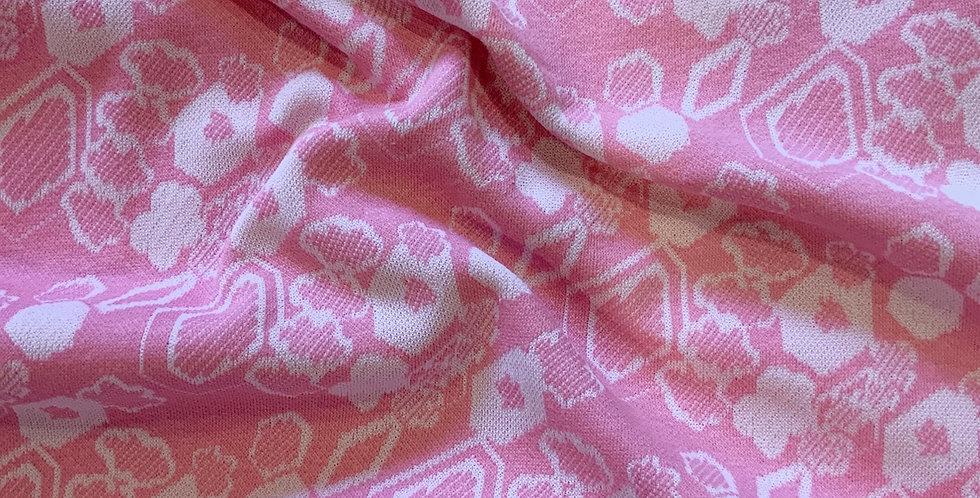 Vintage 1970's Candy Pink Floral Crimplene Remnant