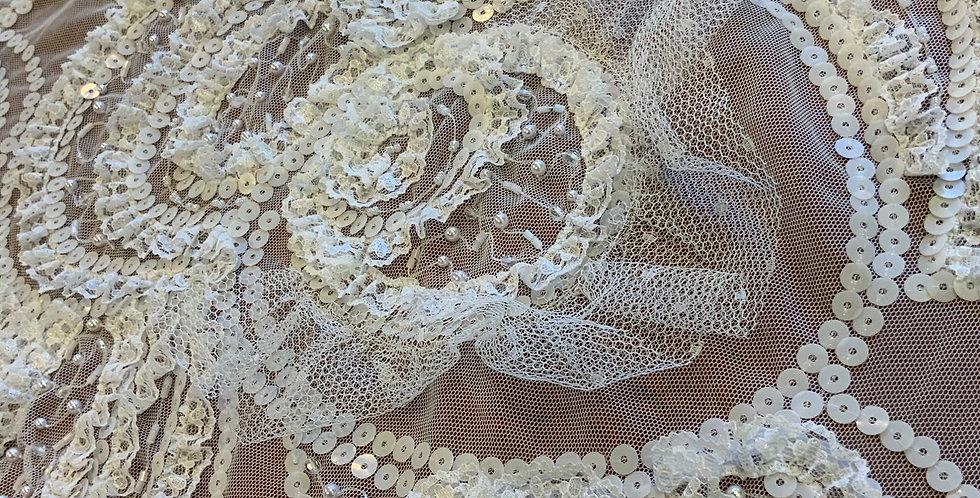 White Ruffle Swirls 3d Beaded Lace Piece...