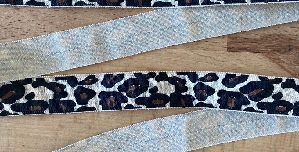 Chocolate leopard fold over elastic