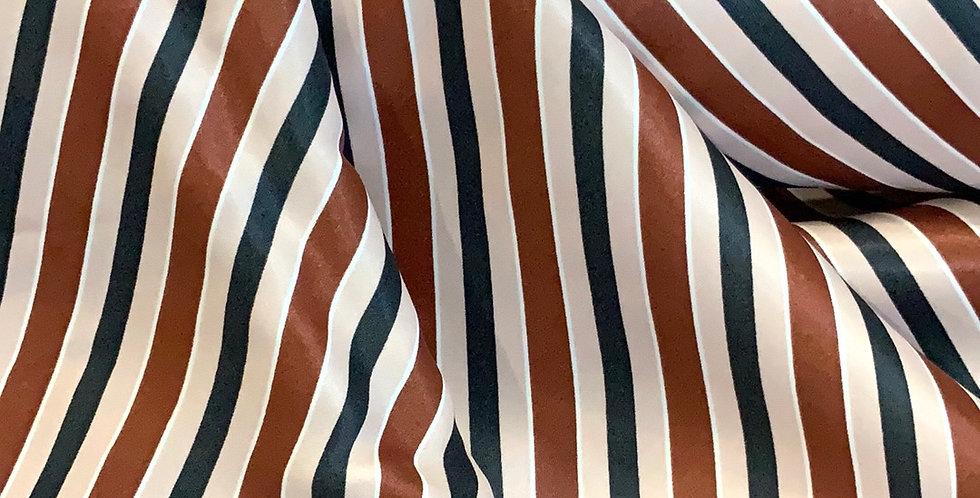 Cinnamon Stripe De-Lustred Viscose Satin...