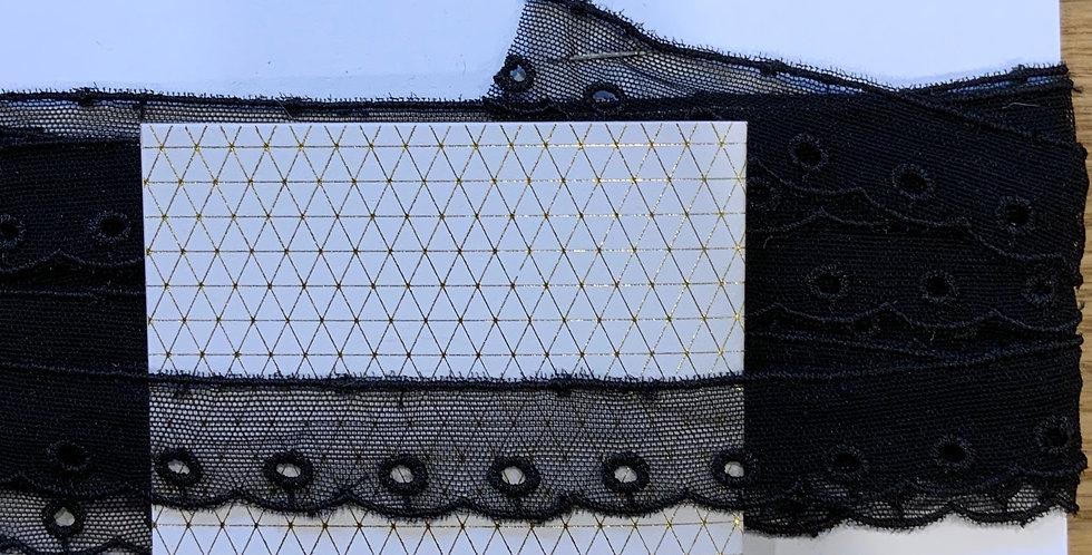 Black Embroidered Nylon Mesh...