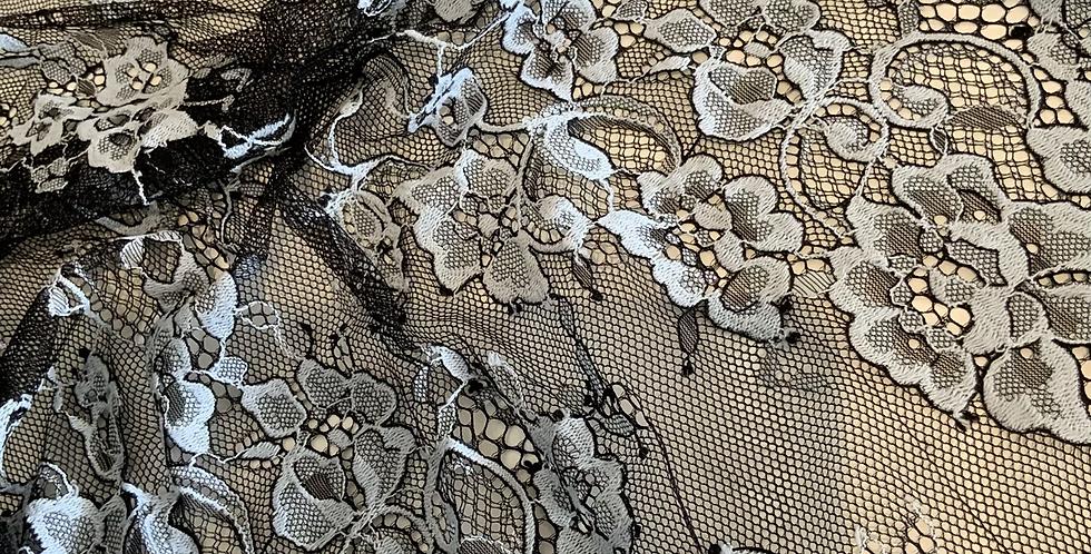 Dusty Blue/Black Lace Off Cut #4008