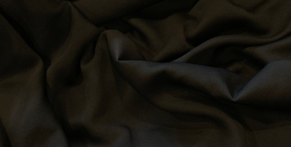 Black Polyester Stretch Crepe de Chine...