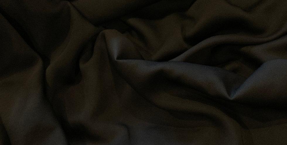 Black Polyester Stretch Crepe de Chine remnant