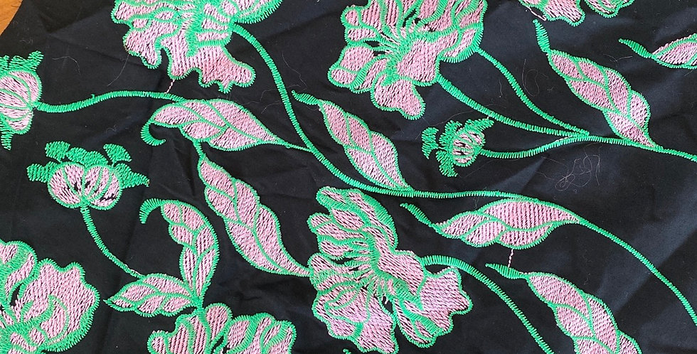Emerald trail embroidered cotton remnant