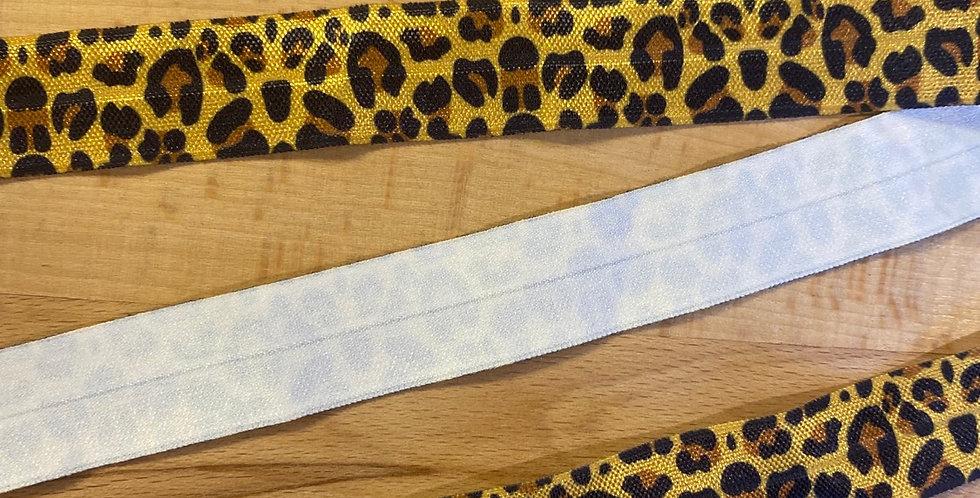 mustard leopard 20mm foldover elastic