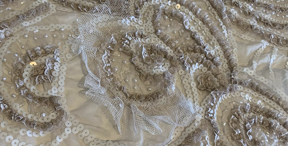 Latte Hand Dyed 3D Beaded Lace Piece #4032