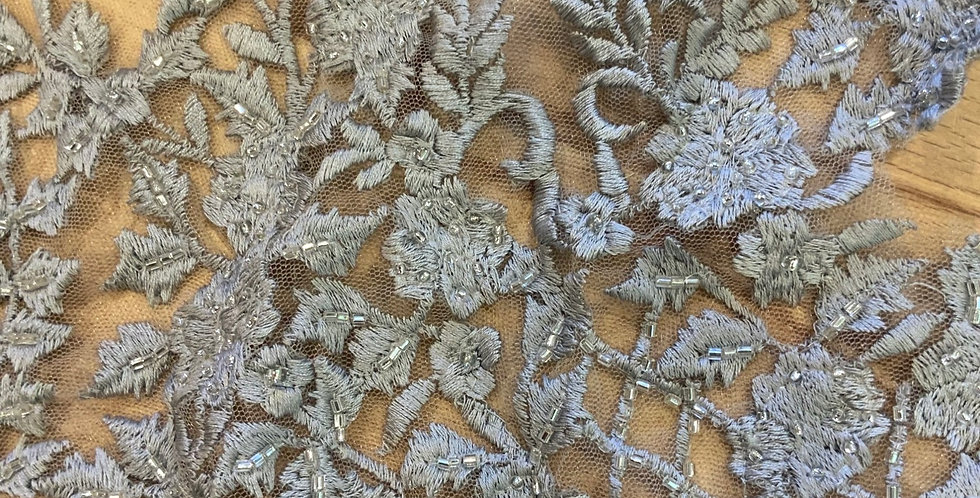 Dusty Grey Hand Dyed Beaded Lace Off Cut #9051
