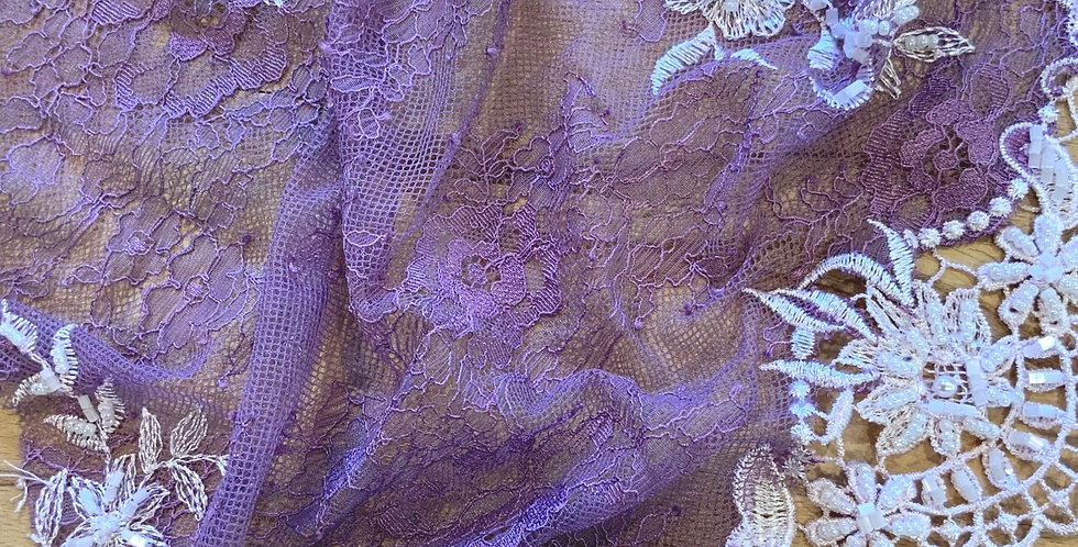 Purple Hand Dyed Beaded Lace Off Cut #9067