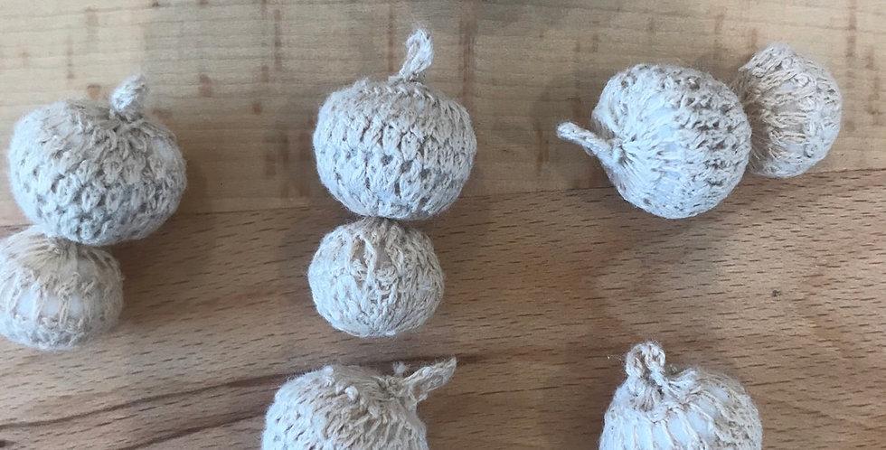 Natural crochet double ball charm