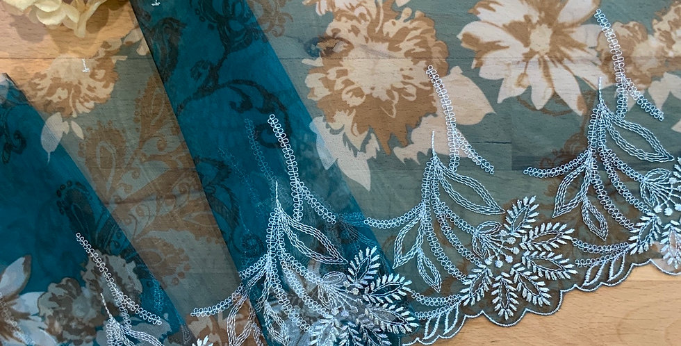 Bohemian Bloom Teal Embroidered Lace...