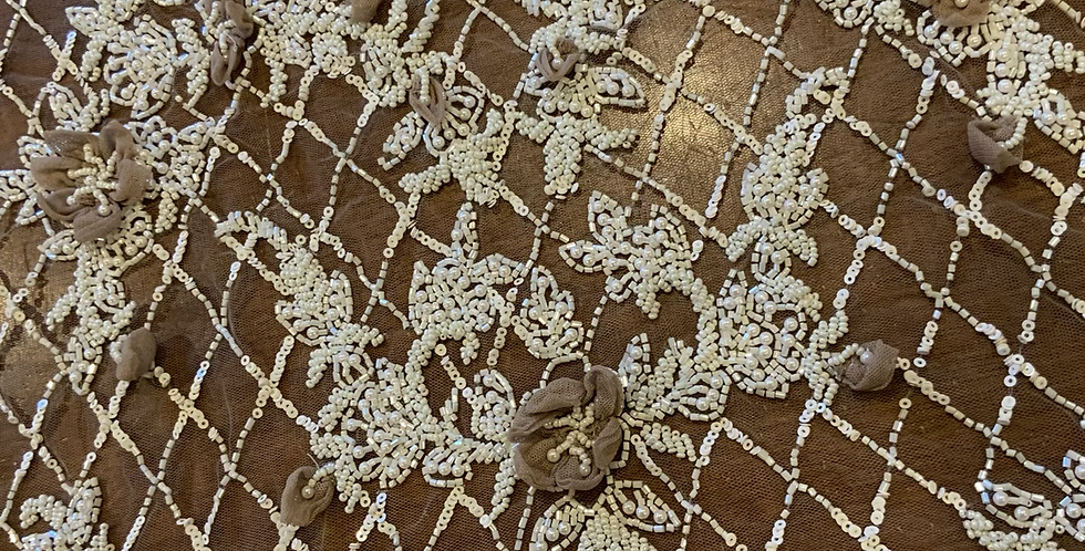 Mocha Hand Dyed Beaded Lace Off Cut #7066