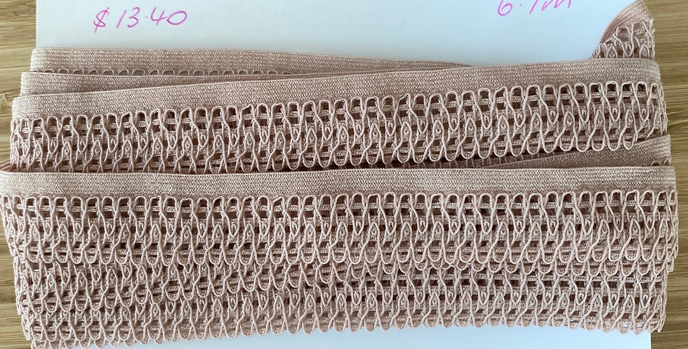 mocha hand dyed edging trim remnant