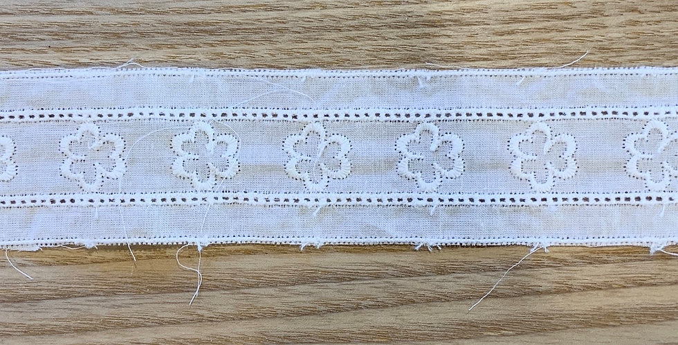 Sweet Bloom White Cotton Embroidered Insertion trim...