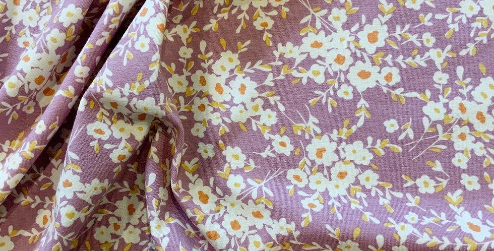 Art Gallery Fabrics Calico Days Lavender Oeko-Tex Cotton Spandex Knit...