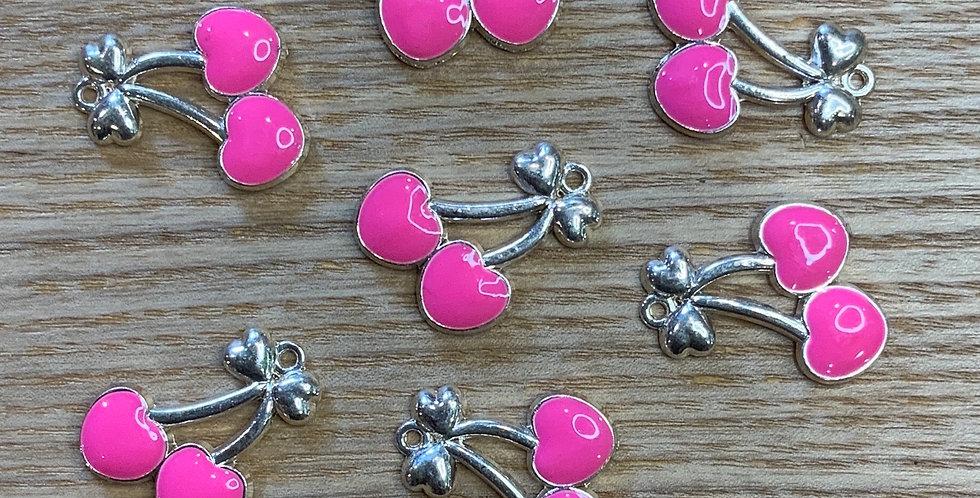 Cherry Enamel Charm Bright Pink