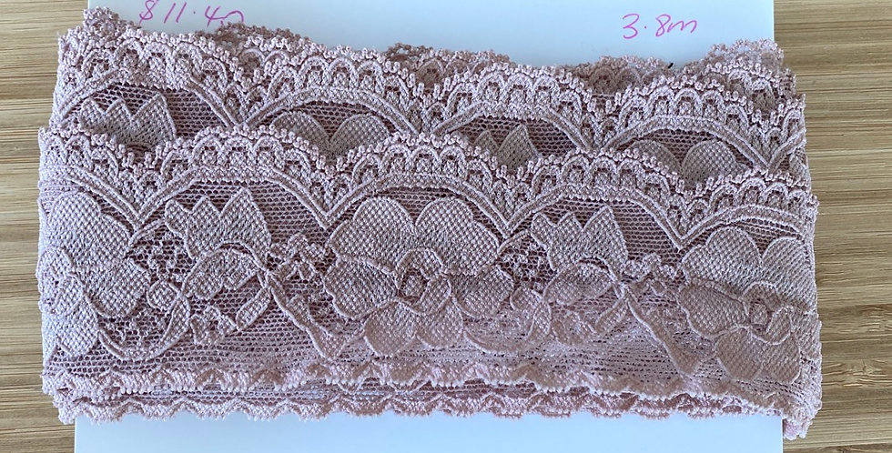 dusty rose hand dyed stretch lace remnant