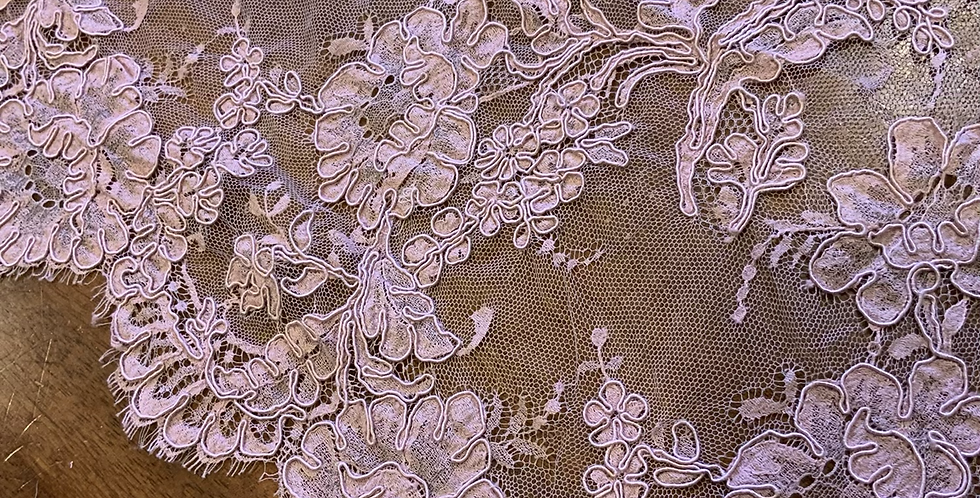 Dusty Pink Hand Dyed French Chantilly Lace Piece #7007