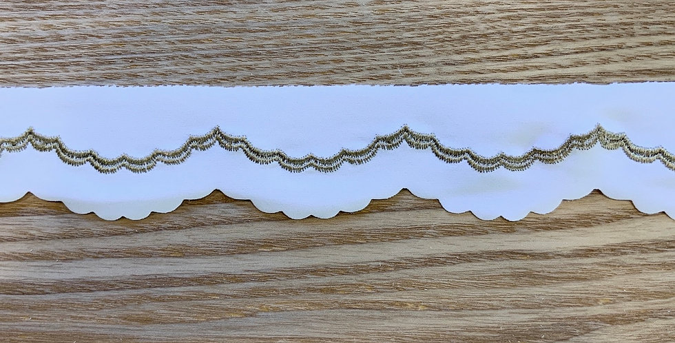 Tilly White Gold Embroidered Spandex Trim...