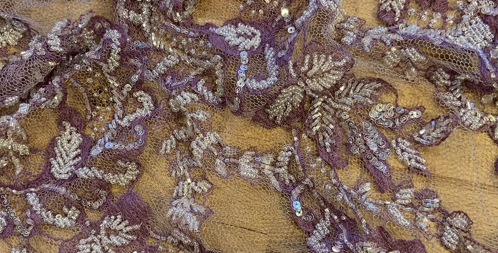 Purple Hand Dyed Beaded Lace Off Cut #9047